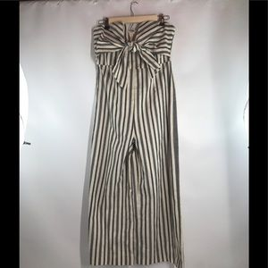Tube Striped V-Neck Tie Front Cropped Jumpsuit